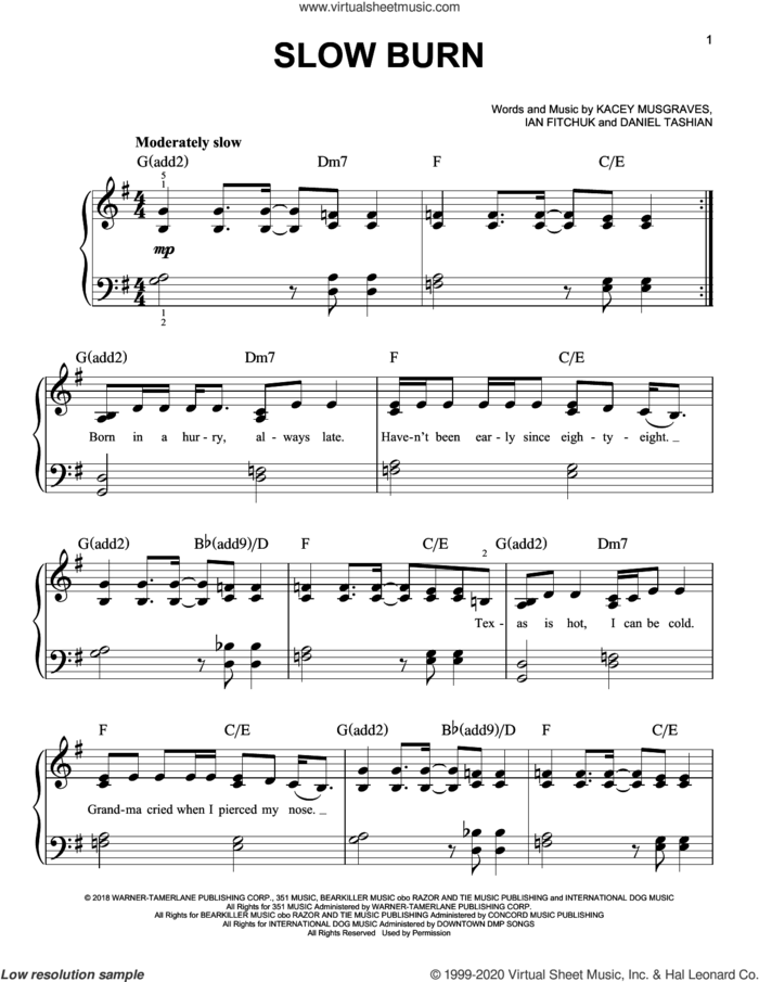 Slow Burn sheet music for piano solo by Kacey Musgraves, Daniel Tashian and Ian Fitchuk, easy skill level
