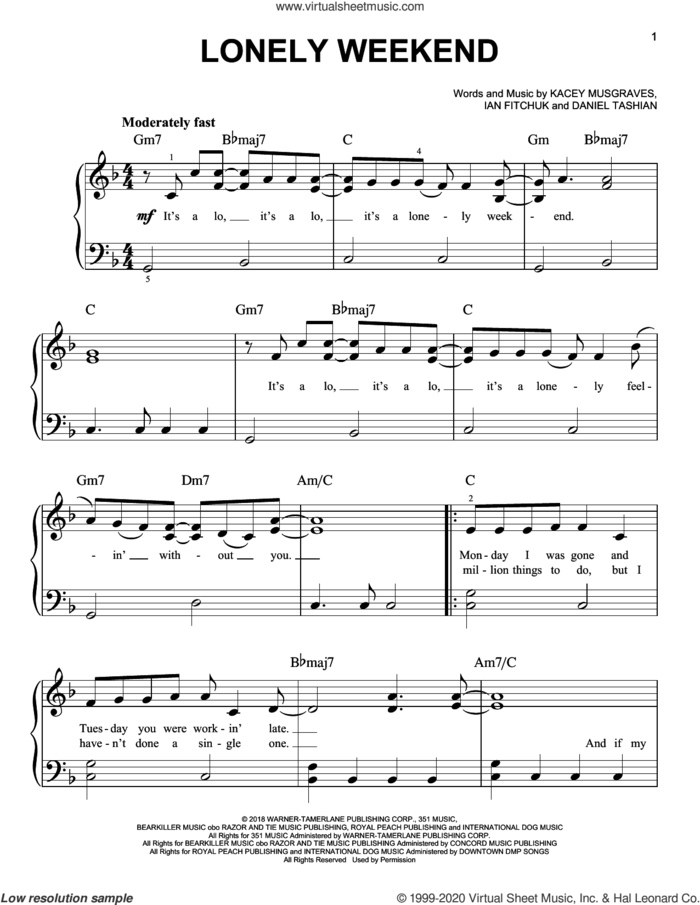 Lonely Weekend sheet music for piano solo by Kacey Musgraves, Daniel Tashian and Ian Fitchuk, easy skill level