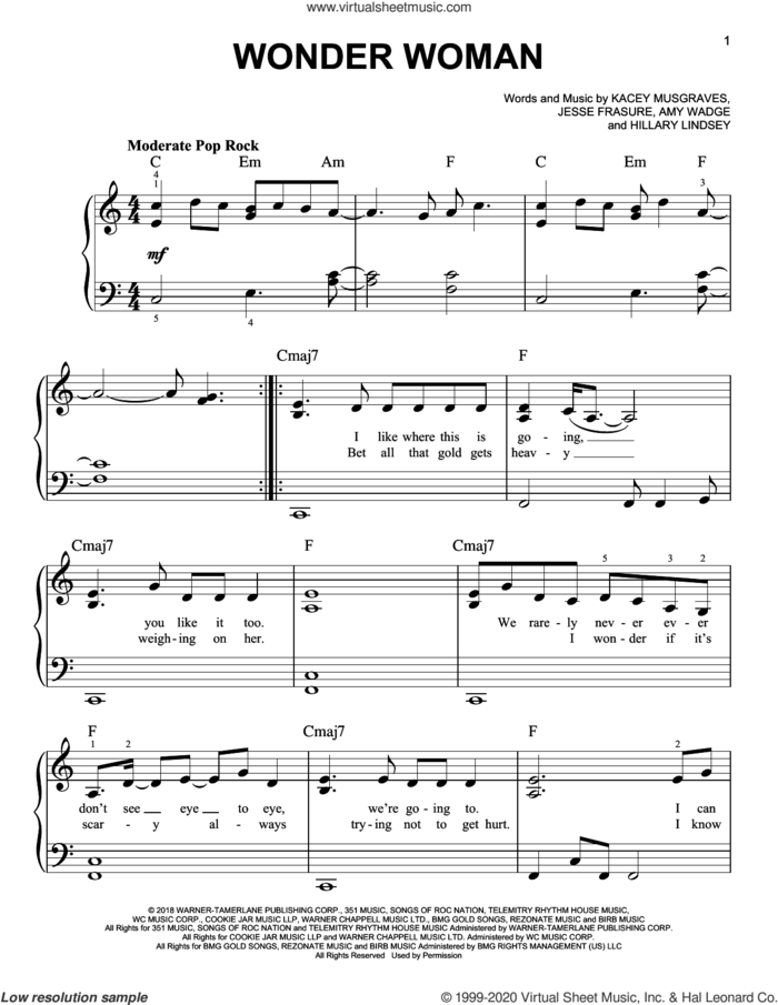 Wonder Woman sheet music for piano solo by Kacey Musgraves, Amy Wadge, Hillary Lindsey and Jesse Frasure, easy skill level