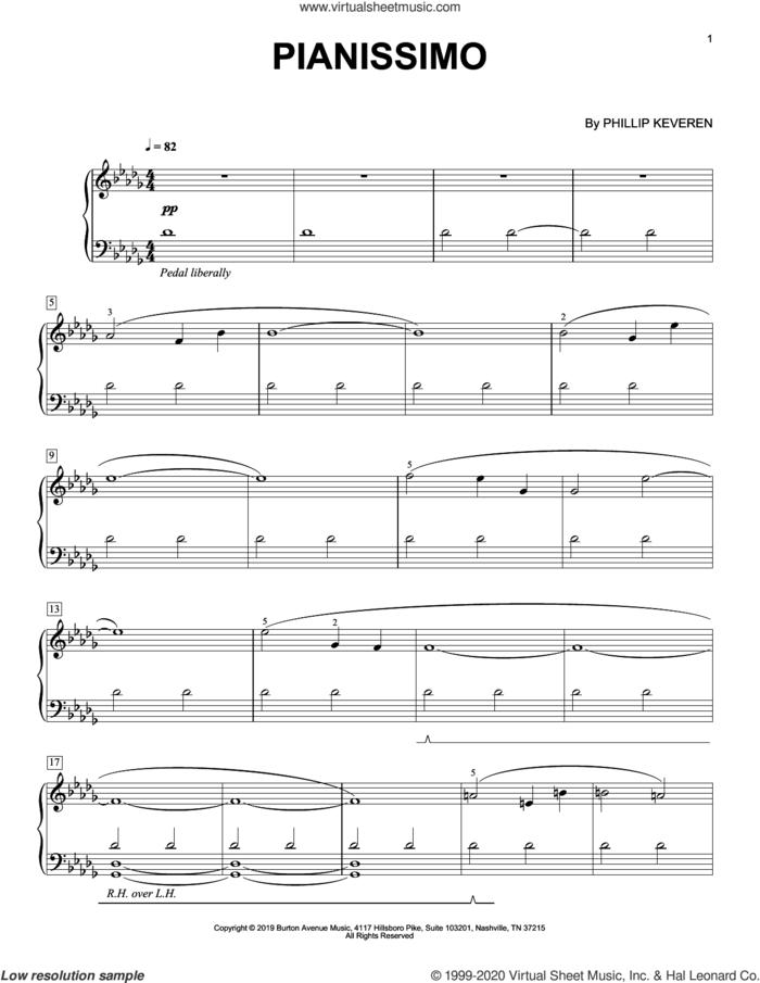 Pianissimo sheet music for piano solo by Phillip Keveren, classical score, intermediate skill level