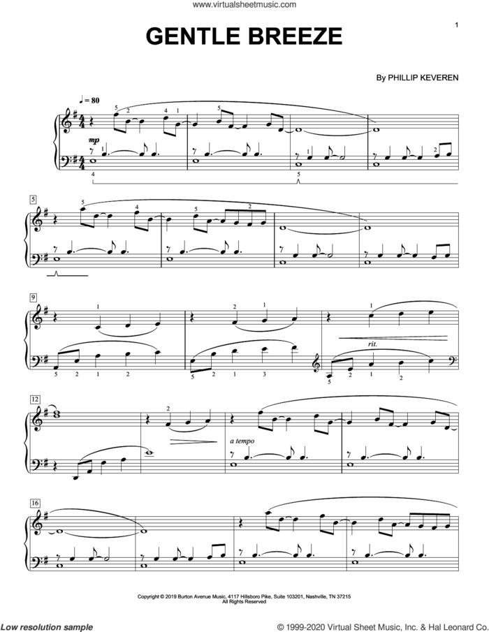 Gentle Breeze sheet music for piano solo by Phillip Keveren, classical score, intermediate skill level