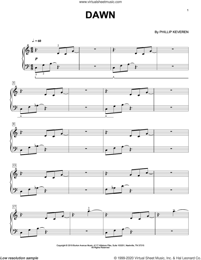 Dawn sheet music for piano solo by Phillip Keveren, classical score, intermediate skill level