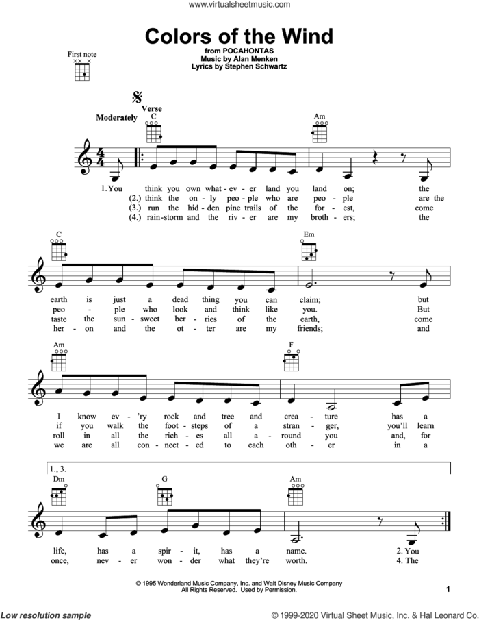 Colors Of The Wind (from Pocahontas) sheet music for ukulele by Vanessa Williams, Alan Menken and Stephen Schwartz, intermediate skill level