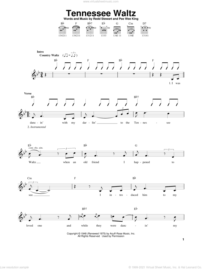 Tennessee Waltz sheet music for guitar solo (chords) by Patti Page, Pee Wee King and Redd Stewart, easy guitar (chords)