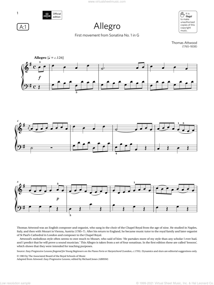 Allegro (Grade 2, list A1, from the ABRSM Piano Syllabus 2021 and 2022) sheet music for piano solo by Thomas Attwood, classical score, intermediate skill level