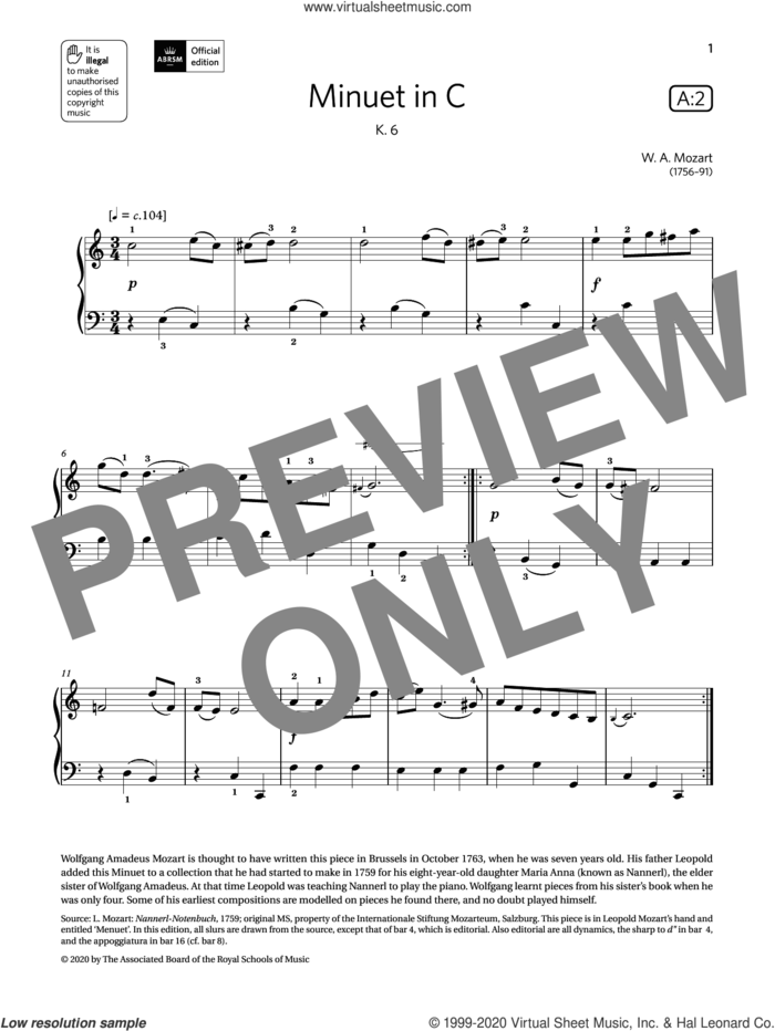 Minuet in C (Grade 1, list A2, from the ABRSM Piano Syllabus 2021 and 2022) sheet music for piano solo by W. A. Mozart, classical score, intermediate skill level