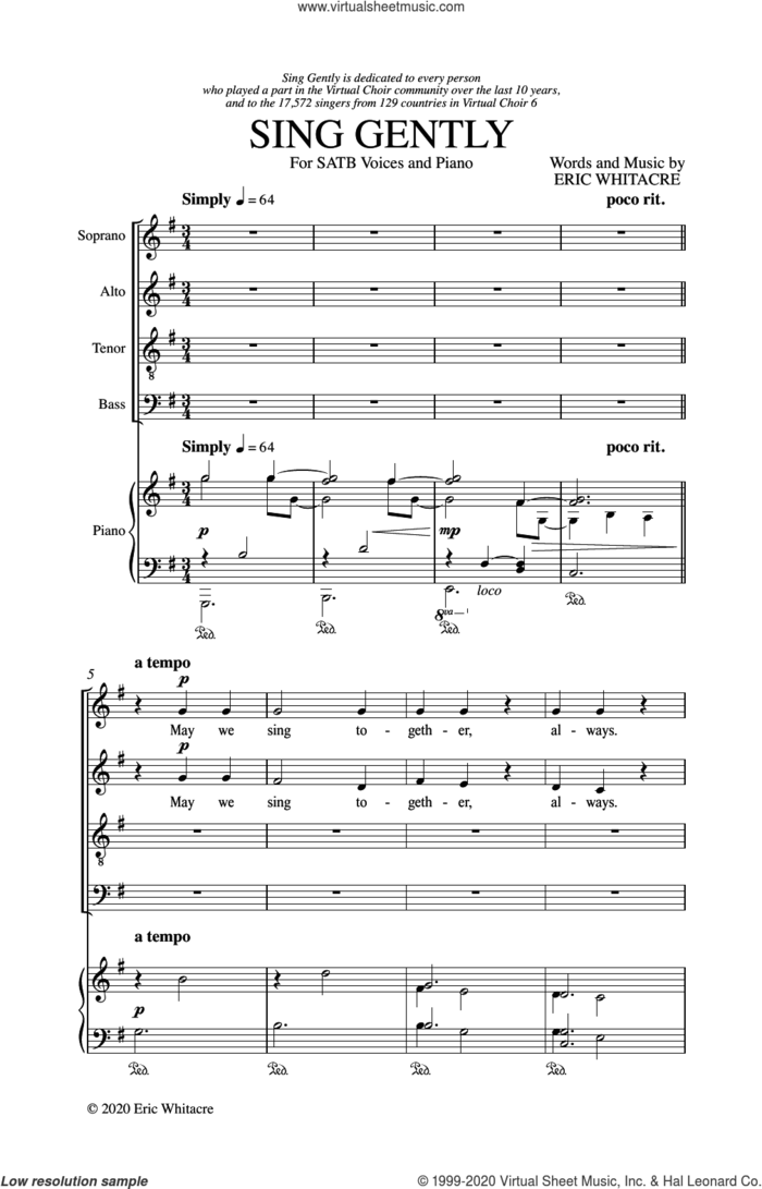 Sing Gently sheet music for choir (SATB: soprano, alto, tenor, bass) by Eric Whitacre, intermediate skill level