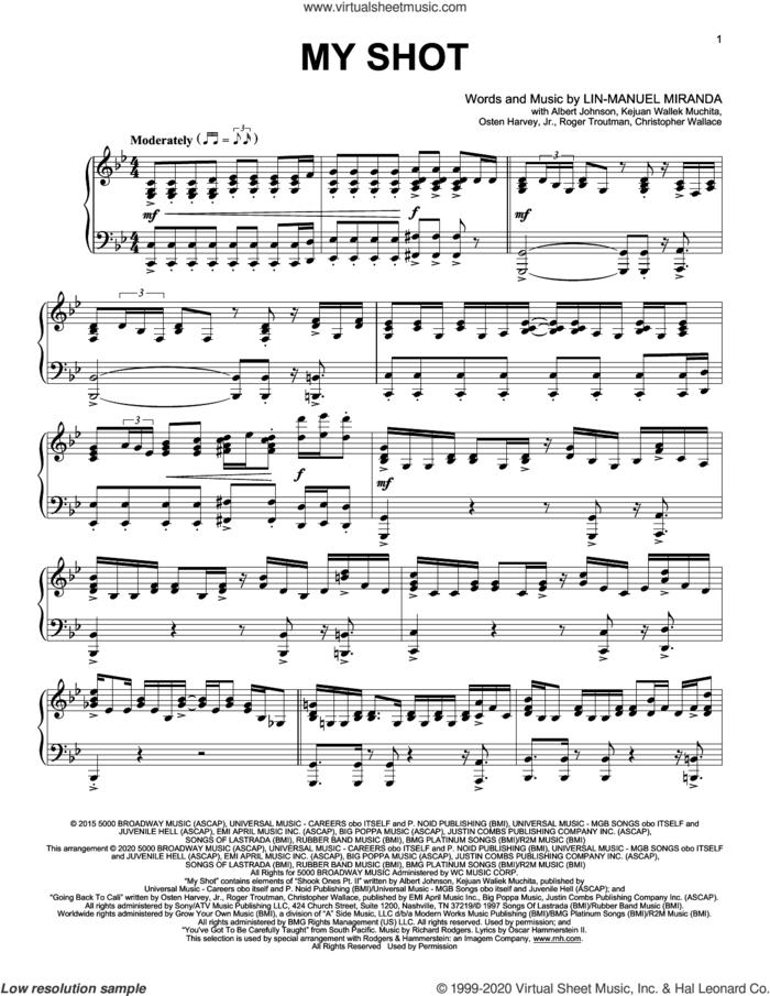 My Shot (from Hamilton) (arr. David Pearl) sheet music for piano solo by Lin-Manuel Miranda, David Pearl, Albert Johnson, Christopher Wallace, Kejuan Waliek Muchita, Osten Harvey, Jr. and Roger Troutman, intermediate skill level