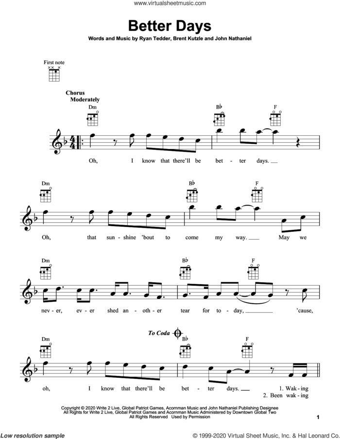 Better Days sheet music for ukulele by OneRepublic, Brent Kutzle, John Nathaniel and Ryan Tedder, intermediate skill level