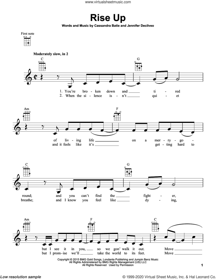 Rise Up sheet music for ukulele by Andra Day, Cassandra Batie and Jennifer Decilveo, intermediate skill level
