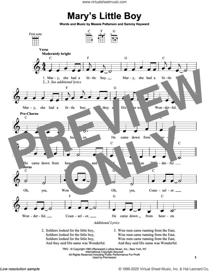 Mary's Little Boy sheet music for ukulele by Sammy Heyward and Massie Patterson, intermediate skill level