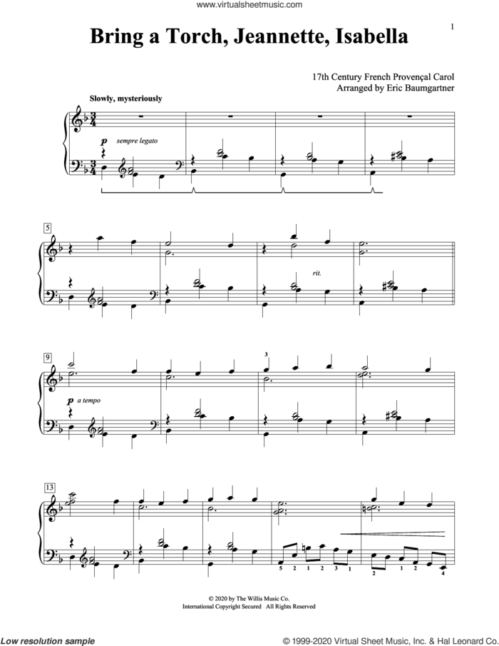 Bring A Torch, Jeannette, Isabella [Jazz version] (arr. Eric Baumgartner) sheet music for piano solo (elementary) by Anonymous, Eric Baumgartner and Miscellaneous, beginner piano (elementary)
