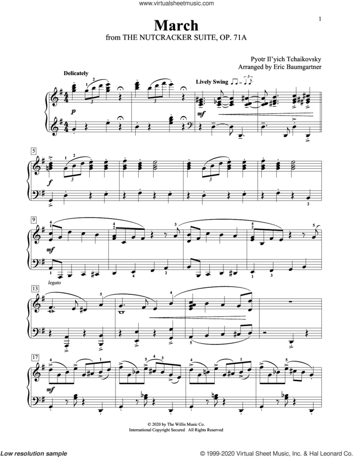 March [Jazz version] (arr. Eric Baumgartner) sheet music for piano solo (elementary) by Pyotr Ilyich Tchaikovsky and Eric Baumgartner, beginner piano (elementary)