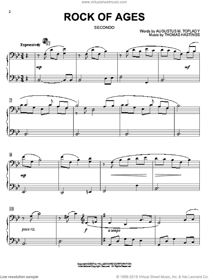 Rock Of Ages sheet music for piano four hands by Augustus M. Toplady, Thomas Cotterill and Thomas Hastings, intermediate skill level