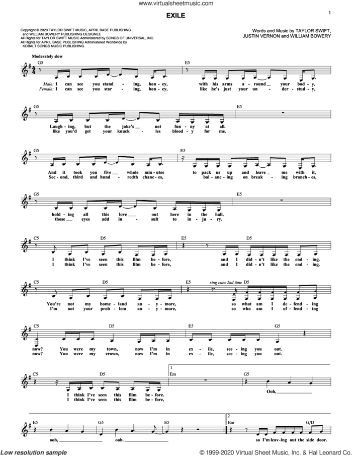 exile (feat. Bon Iver) sheet music for voice and other instruments (fake book) by Taylor Swift, Bon Iver, Justin Vernon and William Bowery, intermediate skill level