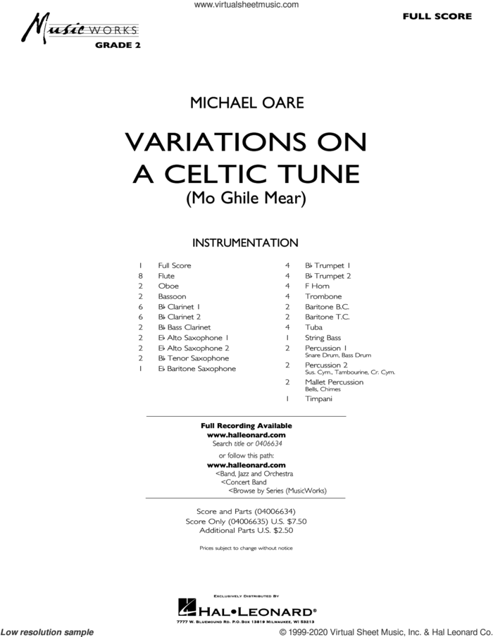 Variations on a Celtic Tune (Mo Ghile Mear) (COMPLETE) sheet music for concert band by Michael Oare, intermediate skill level