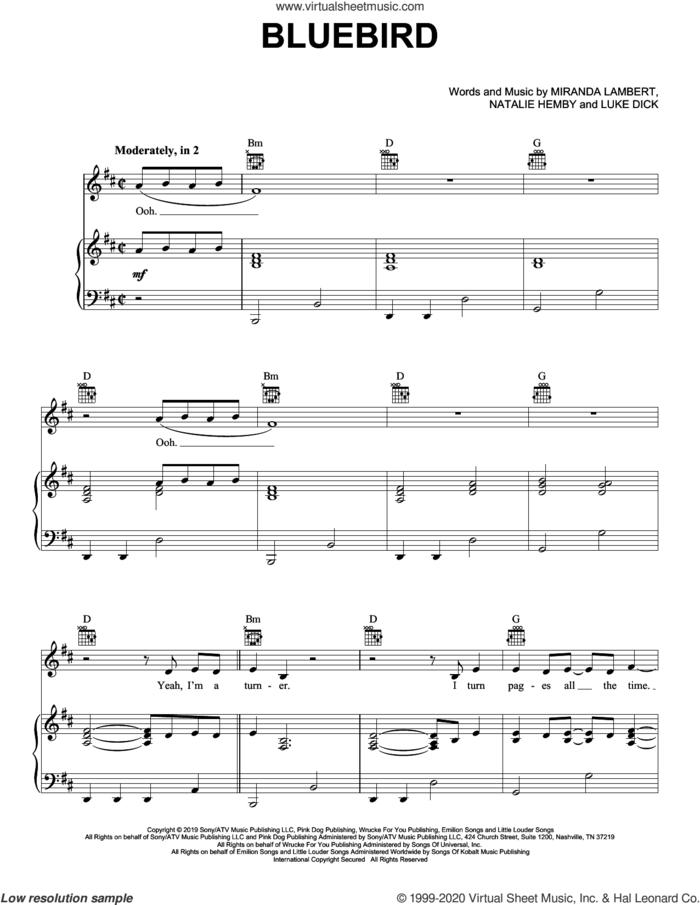 Bluebird sheet music for voice, piano or guitar by Miranda Lambert, Luke Dick and Natalie Hemby, intermediate skill level