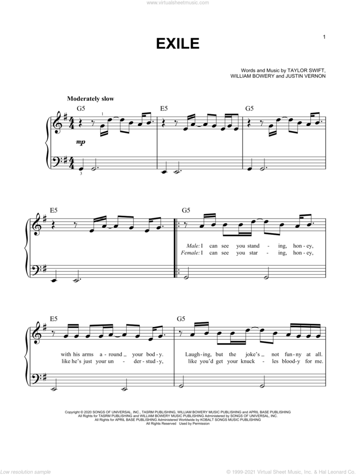 exile (feat. Bon Iver) sheet music for piano solo by Taylor Swift, Bon Iver, Justin Vernon and William Bowery, easy skill level