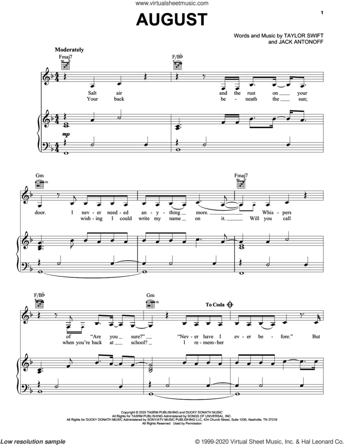 august sheet music for voice, piano or guitar by Taylor Swift and Jack Antonoff, intermediate skill level