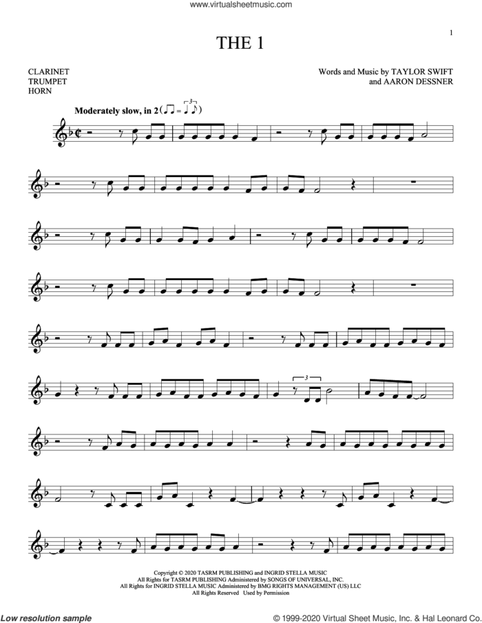 the 1 sheet music for Solo Instrument (treble clef low) by Taylor Swift and Aaron Dessner, intermediate skill level