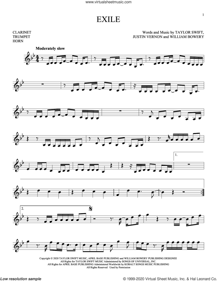 exile (feat. Bon Iver) sheet music for Solo Instrument (treble clef low) by Taylor Swift, Justin Vernon and William Bowery, intermediate skill level