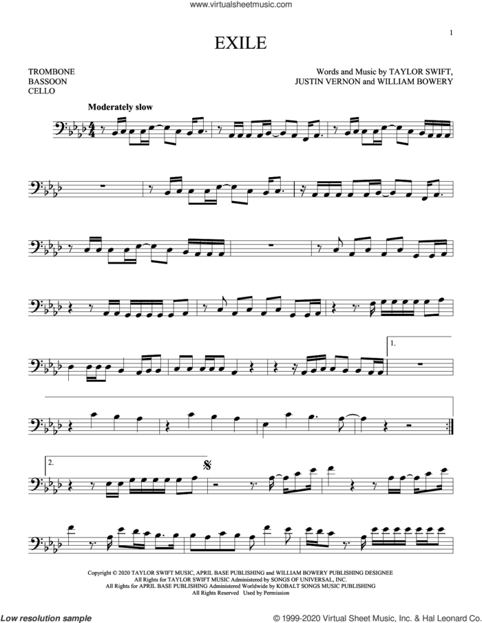 exile (feat. Bon Iver) sheet music for Solo Instrument (bass clef) by Taylor Swift, Justin Vernon and William Bowery, intermediate skill level