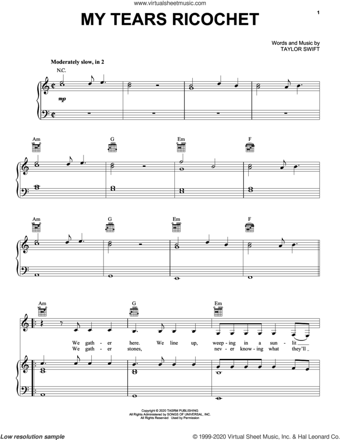 my tears ricochet sheet music for voice, piano or guitar by Taylor Swift, intermediate skill level