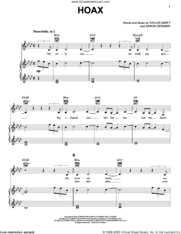 hoax sheet music for voice, piano or guitar by Taylor Swift and Aaron Dessner, intermediate skill level