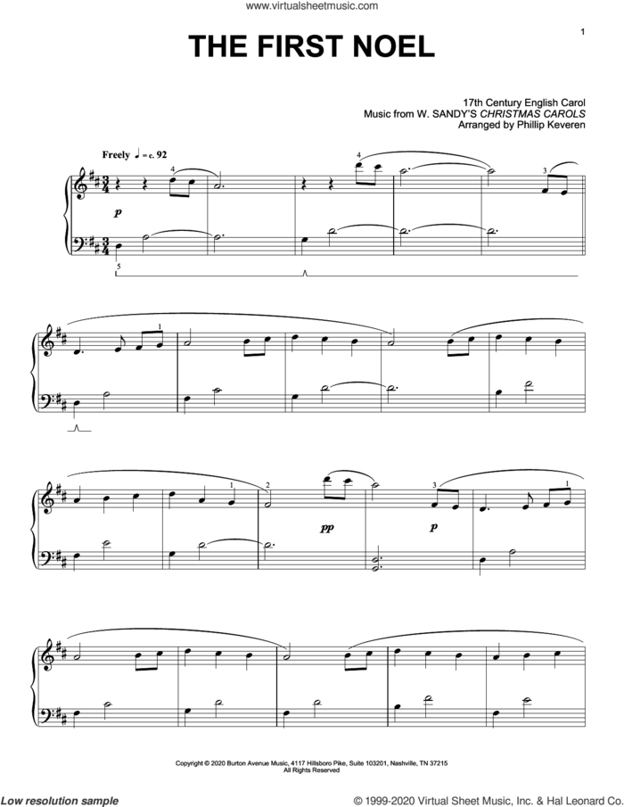 The First Noel (arr. Phillip Keveren) sheet music for piano solo by W. Sandys' Christmas Carols, Phillip Keveren and Miscellaneous, intermediate skill level