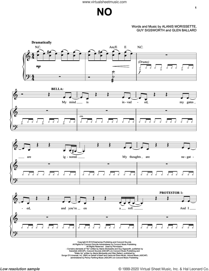 No (from Jagged Little Pill The Musical) sheet music for voice and piano by Alanis Morissette, Glen Ballard and Guy Sigsworth, intermediate skill level