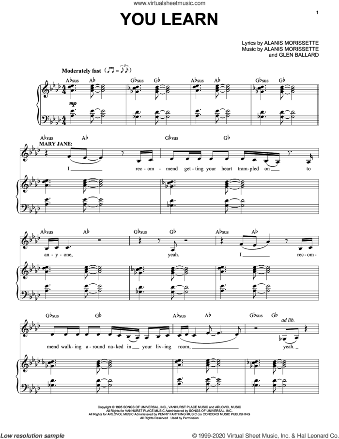 You Learn (from Jagged Little Pill The Musical) sheet music for voice and piano by Alanis Morissette and Glen Ballard, intermediate skill level