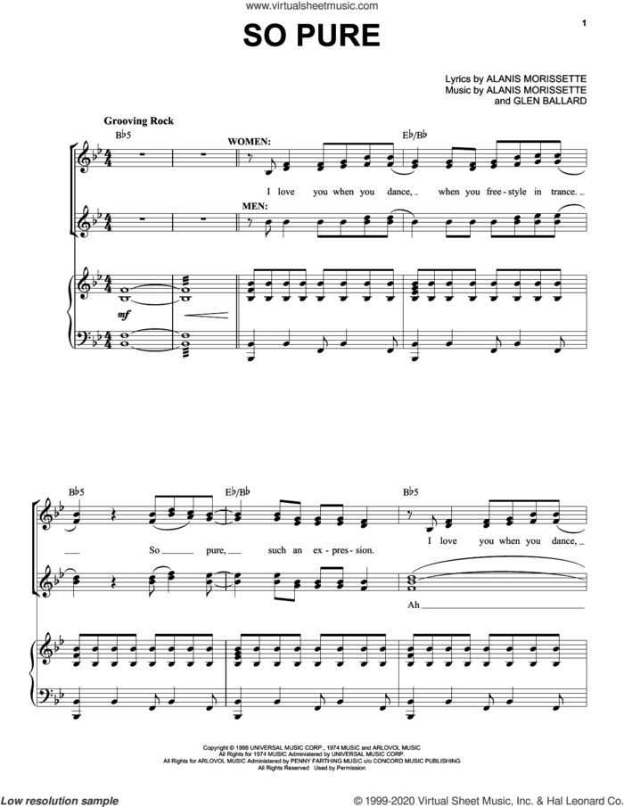 Lancer's Party (So Pure) (from Jagged Little Pill The Musical) sheet music for voice and piano by Alanis Morissette and Glen Ballard, intermediate skill level