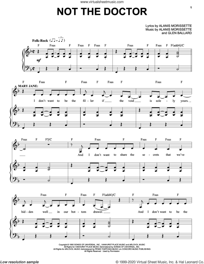 Not The Doctor (from Jagged Little Pill The Musical) sheet music for voice and piano by Alanis Morissette and Glen Ballard, intermediate skill level