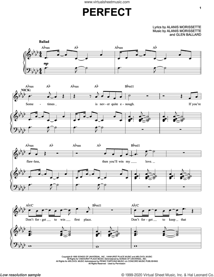 Perfect (from Jagged Little Pill The Musical) sheet music for voice and piano by Alanis Morissette and Glen Ballard, intermediate skill level