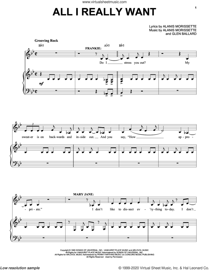 All I Really Want (from Jagged Little Pill The Musical) sheet music for voice and piano by Alanis Morissette and Glen Ballard, intermediate skill level