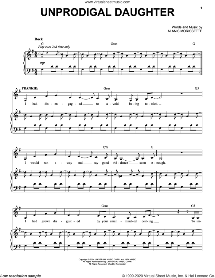 Unprodigal Daughter (from Jagged Little Pill The Musical) sheet music for voice and piano by Alanis Morissette and Glen Ballard, intermediate skill level