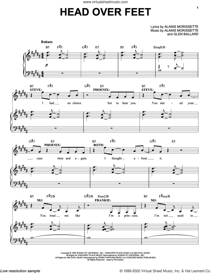 Head Over Feet (from Jagged Little Pill The Musical) sheet music for voice and piano by Alanis Morissette and Glen Ballard, intermediate skill level