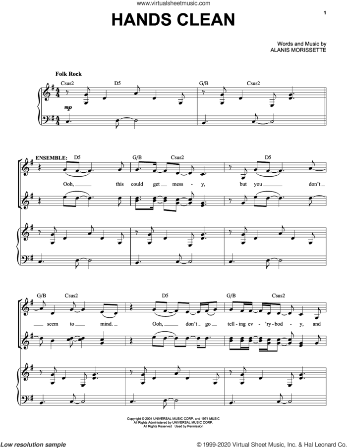 Entr'Acte (Hands Clean) (from Jagged Little Pill The Musical) sheet music for voice and piano by Alanis Morissette and Glen Ballard, intermediate skill level