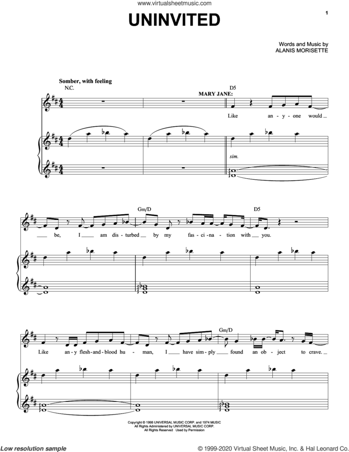Uninvited (from Jagged Little Pill The Musical) sheet music for voice and piano by Alanis Morissette and Glen Ballard, intermediate skill level