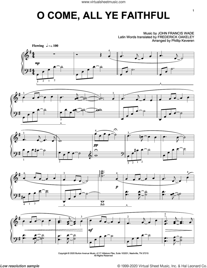 O Come, All Ye Faithful (arr. Phillip Keveren) sheet music for piano solo by John Francis Wade, Phillip Keveren and Frederick Oakeley (trans.), intermediate skill level