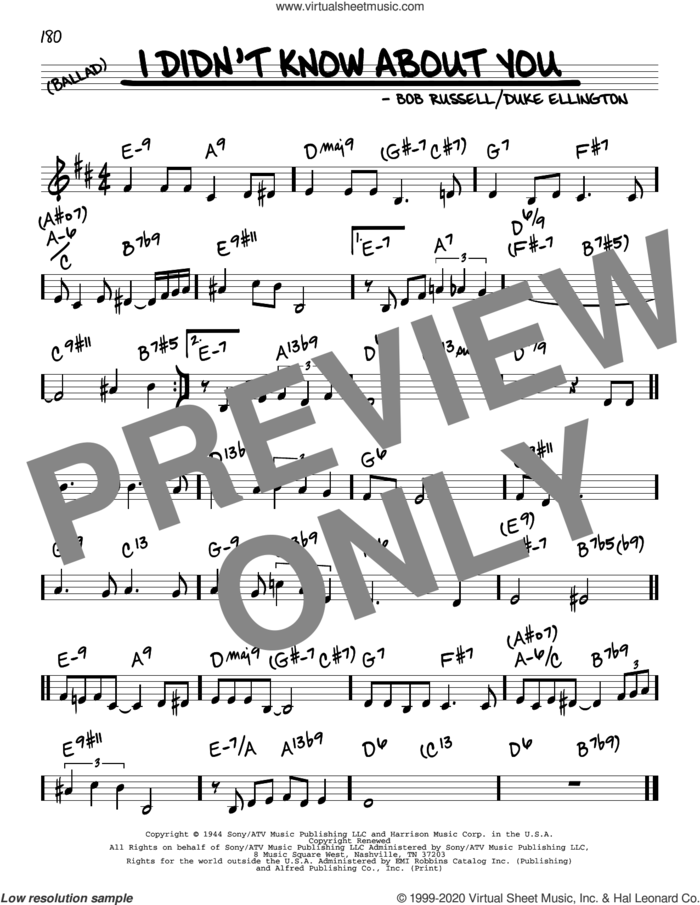 I Didn't Know About You sheet music for voice and other instruments (real book) by Duke Ellington and Bob Russell, intermediate skill level