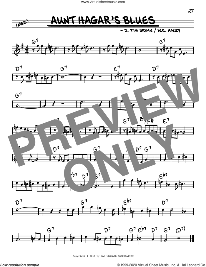 Aunt Hagar's Blues sheet music for voice and other instruments (real book) by W.C. Handy and J. Tim Brymn, intermediate skill level