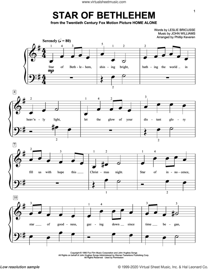 Star Of Bethlehem (from Home Alone) (arr. Phillip Keveren) sheet music for piano solo (big note book) by John Williams, Phillip Keveren and Leslie Bricusse, easy piano (big note book)