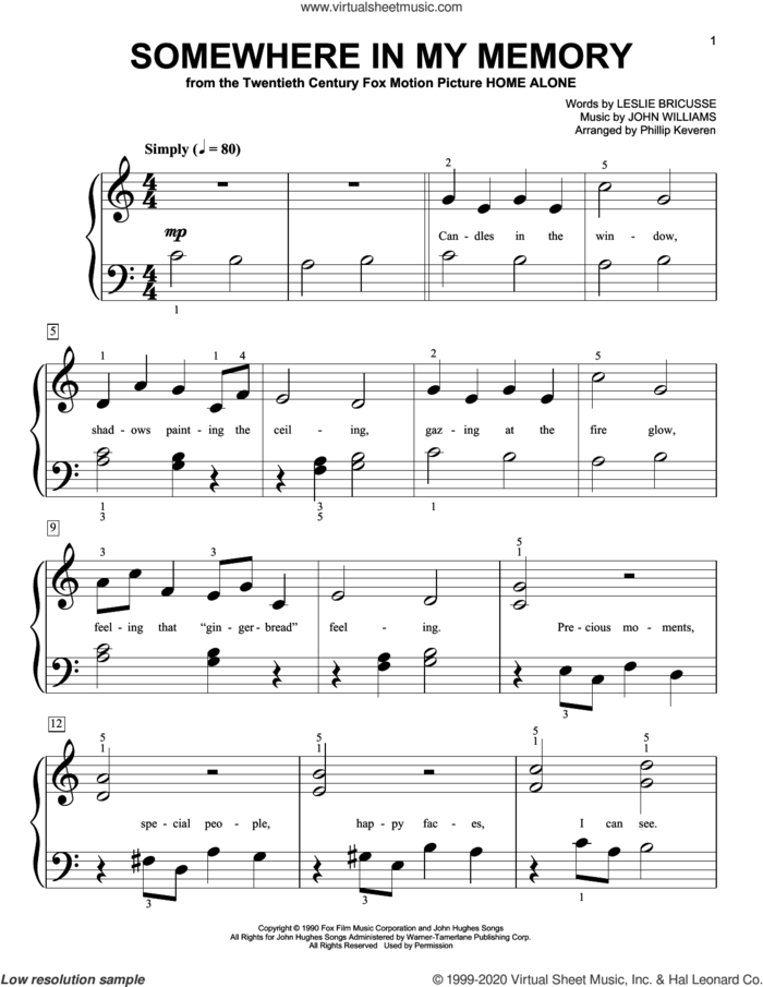 Somewhere In My Memory (from Home Alone) (arr. Phillip Keveren) sheet music for piano solo (big note book) by John Williams, Phillip Keveren and Leslie Bricusse, easy piano (big note book)