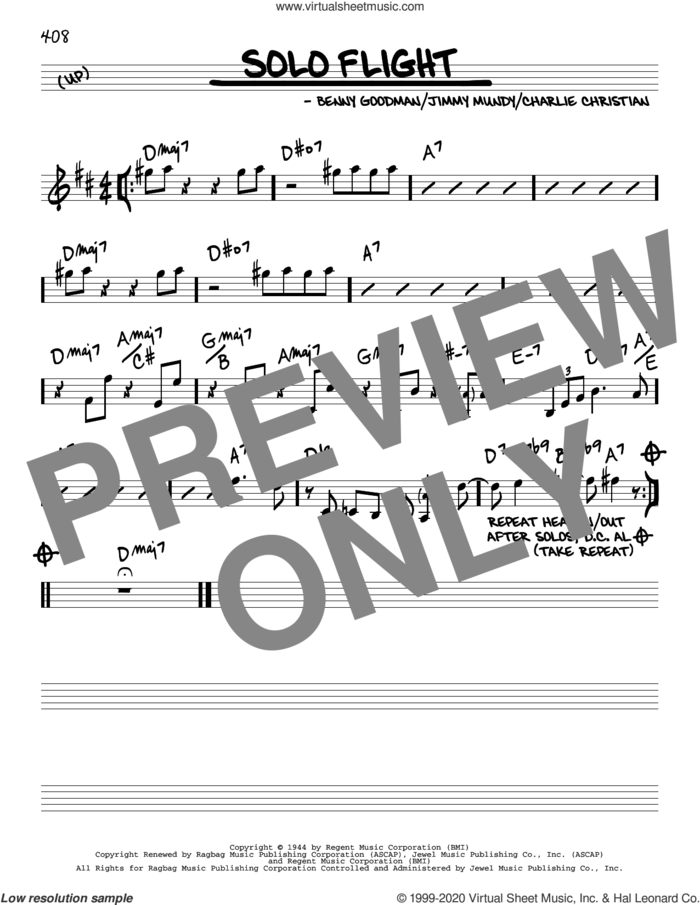 Solo Flight sheet music for voice and other instruments (real book) by Benny Goodman, Charlie Christian and Jimmy Mundy, intermediate skill level