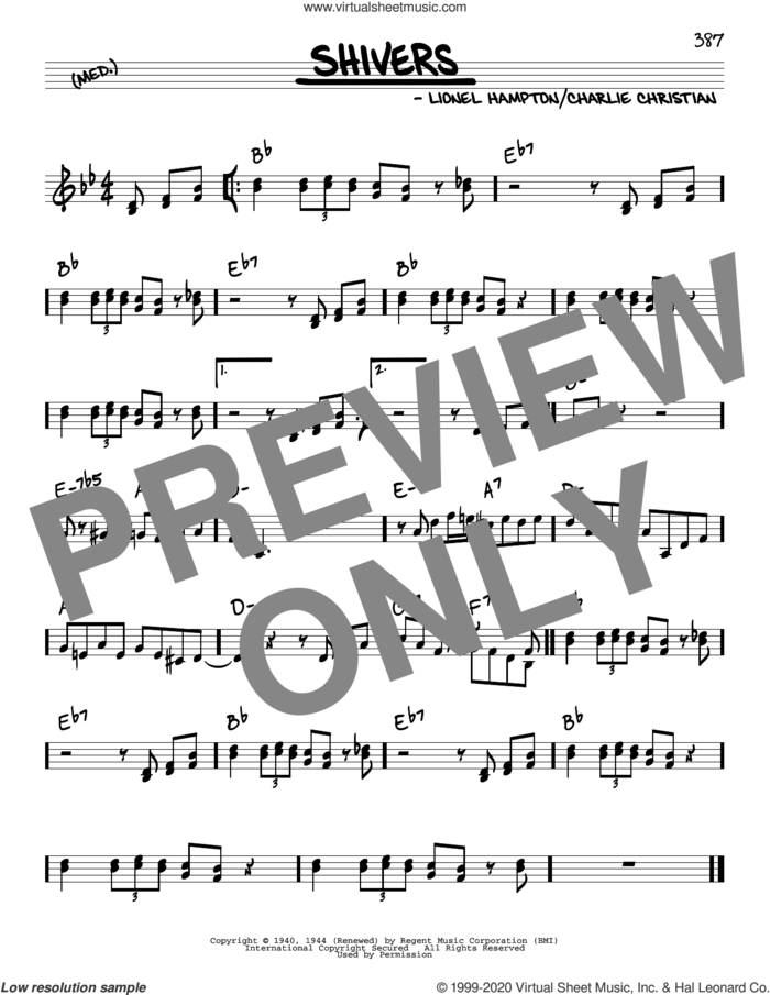 Shivers sheet music for voice and other instruments (real book) by Benny Goodman, Charlie Christian and Lionel Hampton, intermediate skill level