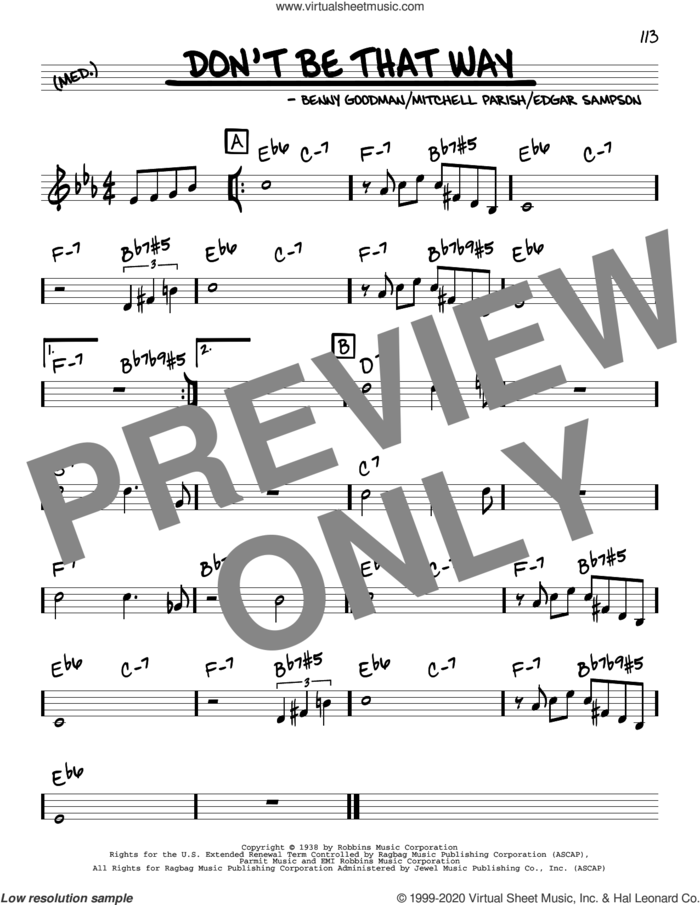 Don't Be That Way sheet music for voice and other instruments (real book) by Benny Goodman, Edgar Sampson and Mitchell Parish, intermediate skill level
