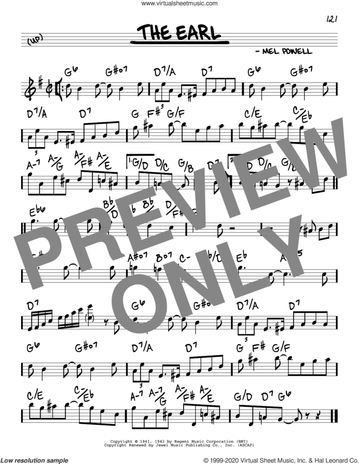 The Earl sheet music for voice and other instruments (real book) by Benny Goodman and Mel Powell, intermediate skill level