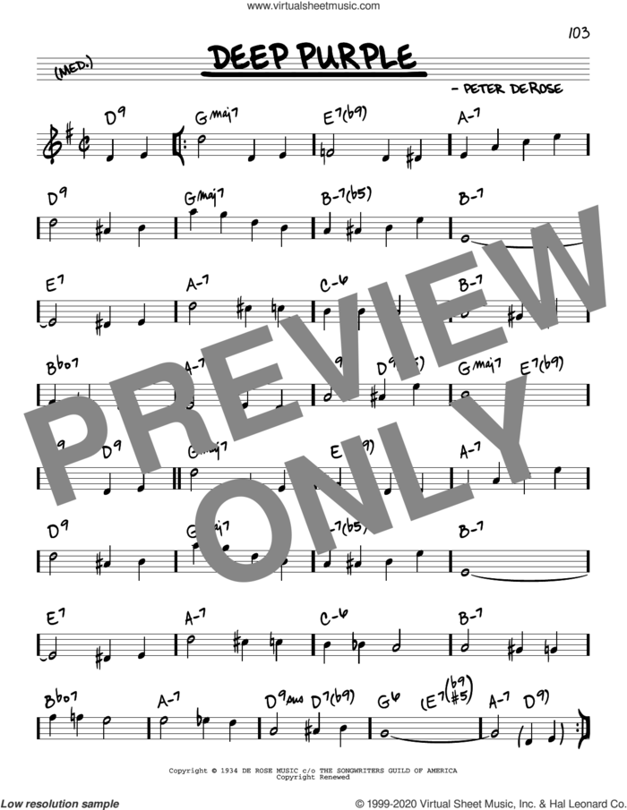 Deep Purple sheet music for voice and other instruments (real book) by Nino Tempo & April Stevens, Mitchell Parish and Peter DeRose, intermediate skill level