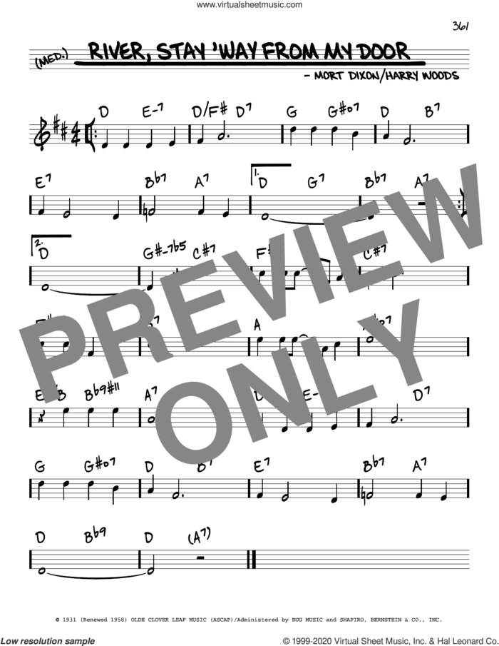 River, Stay 'Way From My Door sheet music for voice and other instruments (real book) by Frank Sinatra, Harry Woods and Mort Dixon, intermediate skill level